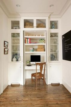 SmallTownStripes: Best of Built-ins. Hide away desk to conceal the office and bills. Half china cabinet for dinnerware.