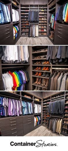 Contained Home Organizer, Kristen Shoemate, created zones in the Crossno's master TCS Closet by organizing clothing by color and occasion. The back wall makes a statement by showcasing the couple's shoes. And both Cathy and her husband can see their tops at a glance thanks to everything being organized by clothing type (short or long sleeve) and color.