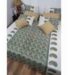 Heritage Fabs Kalmkari Green N White Double Bed Cover Set With 2 Pillow Covers