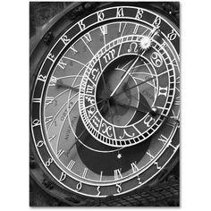 Trademark Fine Art Astronomic Watch Prague 11 inch Canvas Art by Moises Levy, Size: 18 x 24, White