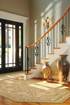 Entryways decor entryway ideas for your home entrance foyer images ent . home entrance decor glass window foyer Design Hall, Flur Design, Entry Way Design, Design Room, Railing Design, Staircase Design, Staircase Decoration, Staircase Ideas, Iron Staircase