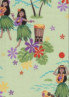 50pa 'a 'aina Tropical Hawaiian Vintage Hula Girls on a cotton Hawaiian apparel fabric.  BarkclothHawaii.com