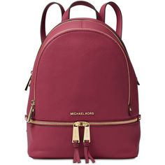 Michael Michael Kors Rhea Zip Medium Backpack ($298) ❤ liked on Polyvore featuring bags, backpacks, mulberry, zip tote bag, handbag tote, red leather tote, red tote handbag and leather backpack