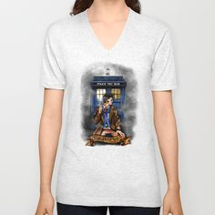 10th Doctor With Blue phone Box Unisex Vneck tshirt #Clothing #Tshirt #ShortSleeved #Geekery #Tshirt #tee #geek #cute #etsy #redbubble   #tardis #doctorwho #starrynight #vangogh #screamingman #flying #phonebooth #10th