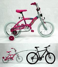 """Connect Cycles Girls Bike, 16-Inch by Connect Cycles. $189.00. Flip-up Training Wheels. Seat Post Kit for Adult Bike. One Step Automatic Steering Lock Receiver. Telescoping Tow Bar and Storage Bracket. 16"""" Child Bike. Girls Tow Ready Bike (Pink/Silver Frame, Silver Tow Bar, Flowers and Butterfly Decals and Flip-up Training Wheels) Black tires only"""