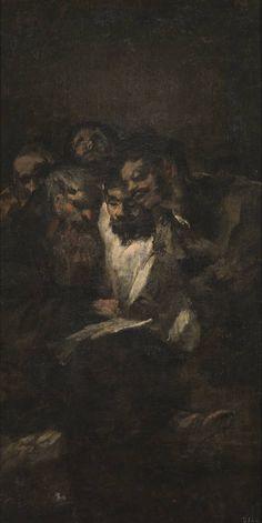 """Goya, """"La lectura"""" o """"Los políticos"""", 1820 - 1823, óleo, pintura mural trasladada a lienzo, 126 x 66 cm. Esta escena se tituló """"Dos hombres"""" en el inventario de las obras en propiedad del hijo de Goya, redactado, a mediados del siglo XIX, por el pintor Antonio Brugada (1804-1863). Decoraba junto con """"Dos mujeres y un hombre"""" una de las paredes laterales de la sala de la planta alta de la Quinta del Sordo. En el catálogo del Prado de 1900 se le dio el título de """"La lectura""""."""