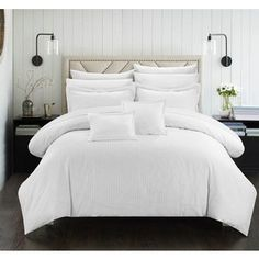 Chic Home Kesha 11 Piece Comforter Striped Embossed Down Alternative Jacquard Bed in a Bag Bedding - Sheets Decorative Pillows Shams Included, Queen White Pinterest Design, King Comforter Sets, Bedding Sets, White Bedding Set, Bed In A Bag, Bedding Basics, Flat Sheets, Bed Sheets, 1 Piece