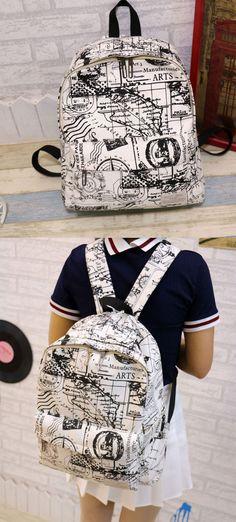 Harajuku Style Canvas Graffiti Map Casual Backpack &Schoolbag so nice bag…
