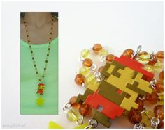 Super Mario Necklace Pixel Pendant Very Long Rosary in by gatumi, $33.00
