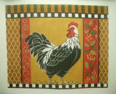 Needlepoint Hand Painted Canvas Amanda Lawford Rooster Farm Rustic 13M | eBay