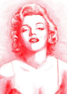 Marilyn Monroe artwork by The Art of James Cattlett. Red Charcoal drawing.