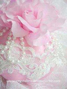 Pink Shabby Chic roses with pearls & lace