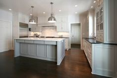 Walker Woodworking - kitchens - hardwood floors, dark hardwood floors, recessed lighting, pot lights, white cabinets, white cabinetry, white...