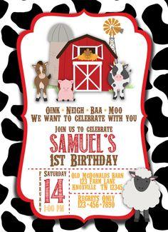 Barnyard Farm Birthday Printable Invitation