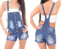 NEU Kurze Damen Latzhose Shorts Jeanslatzhose Jeans S M L blau Träger Overall