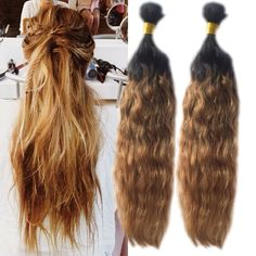 Grade 7A Quality 50g/pc Ombre Natural Wave Real Human Hair Extension Remy Wefts #WIGISS #HairExtension