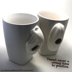 Climbing mugs. If you love your coffee as much as we do, you will get proficient at holding these REAL fast...