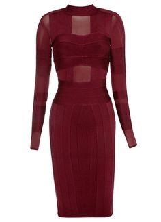 Elegant Mock Neck Long Sleeve Women's Bandage Dress Was: $69.19 Now: $55.35.