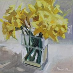 Daffodil Bouquet on White Daffodils, Pansies, Oil Painting Flowers, Flower Paintings, Oil Paintings, Daffodil Bouquet, Still Life Flowers, Spring Bouquet, Small Canvas