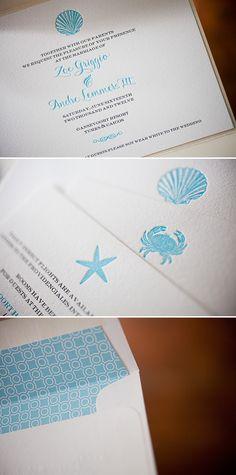 Nautical blue letterpress wedding invitations