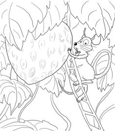The Little Mouse, the Red Ripe Strawberry, and the Big Hungry Bear coloring page