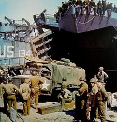 """Used equipment 1st Infantry Division, US Army landing craft LST before the start of """"Operation Overlord"""" [2]"""