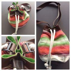 Descripción: bolso mochila Color: verde, naranja, vinotinto. Medidas: 40cm x35cm  Material: algodón y cuero sintético