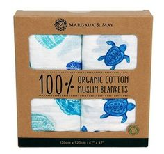 Organic Muslin Swaddle Blanket by Margaux & May - X Large Receiving Blankets - Turtles & Sea Shells - Great Nursery Gift trendy family must haves for the entire family ready to ship! Free shipping over $50. Top brands and stylish products 🌿
