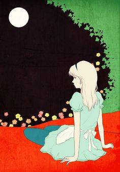 Japanese illustrator Sai Tamiya, Alice in Wonderland. #AliceInWonderland.