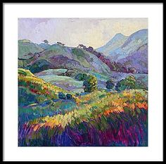 Jeweled Hills Framed Print by Erin Hanson