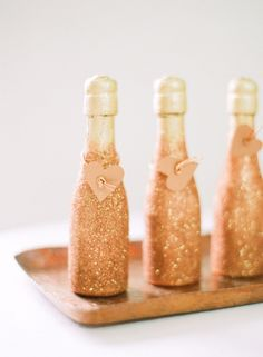Would be cute for Michelle's Wedding Shower Glittery champagne bottles / Photography by: White Loft Studio / Design & Styling by: Style Me Pretty at Home bridesmaid gift Mini Champagne Bottles, Mini Bottles, Gold Champagne, Champagne Party, Glitter Bottles, Gold Bottles, Beer Bottles, Valentines Day Party, Wine Pairings