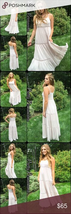 """NWT Creamy Boho Goddess Maxi Dress NWT Cream Floral Crochet Boho Maxi Dress  Available in sizes: S, M, L Measurements:  Length: 57"""";  Size Small Bust: 34"""" Size Medium Bust: 36"""" Size Large Bust: 38""""  (measurements taken unstretched)  Features: • adjustable spaghetti straps • floral crochet lace insets • light, soft, flowy, breathable material • relaxed fit • scooped neckline • lined/non-sheer  Rayon/Cotton   Bundle discounts available  No pp or trades  Item # 1/2PP219065CCMD Pretty…"""