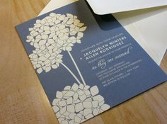 SAMPLE Hydrangea Blooms Wedding Invitation by vohandmade on Etsy