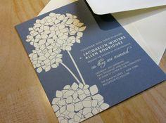SAMPLE Hydrangea Blooms Wedding Invitation by vohandmade on Etsy