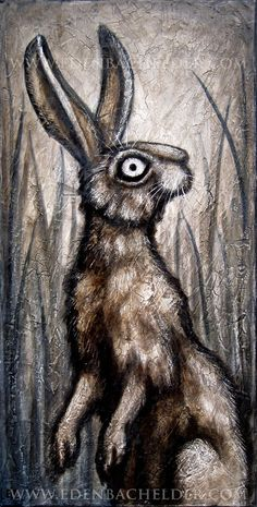 Standing Hare signed and matted print from an original by edenbee, $40.00