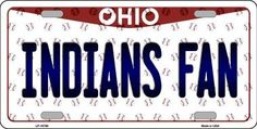 Indians Fan Ohio Background Novelty Metal License Plate
