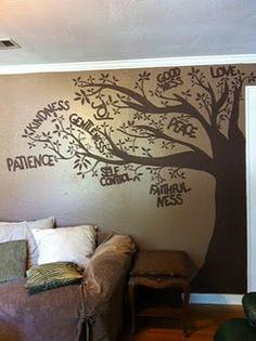 57 trendy Ideas fruit of the spirit tree mural Future House, Youth Group Rooms, Sunday School Decorations, Room Decorations, Sunday School Rooms, School Murals, Church Nursery, Church Design, Fruit Of The Spirit