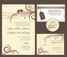 Digital Love Birds Wedding Invitation Package DIY by RitejStudio, $30.00