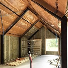 Can't wait to start putting up those ceiling boards tomorrow! Metal Barn Homes, Pole Barn Homes, Building A Cabin, Metal Building Homes, Shed Homes, Prefab Homes, Steel Frame House, Modern Barn House, Pole Barn House Plans