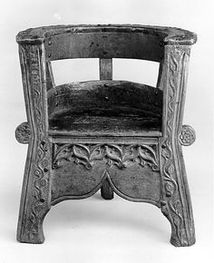 Chair Date: century Culture: North Italian Medium: Oak Dimensions: Overall: 32 x 28 x 22 in. Medieval Furniture, Antique Furniture, Home Furniture, Furniture Design, Leather Dining Room Chairs, Living Room Chairs, Tudor Decor, Old Chairs, Antique Chairs
