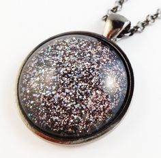 Sparkly Pink Glitter Pendant Necklace. Circle by StardustCraft, $10.00