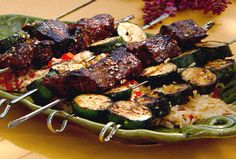 Grilled Asian Beef Kebabs over Rice from FoodNetwork.com