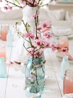 spring wedding cherry blossom centerpiece a few branches of pink almond flowers . spring wedding cherry blossom centerpiece a few branches of pink almond flowers … spring wedding cherry blossom centerpiece a few branches of pink almond flowers or cherry Cherry Blossom Centerpiece, Wedding Centerpieces, Wedding Decorations, Centerpiece Ideas, Wedding Table, Wedding Ideas, Wedding Stuff, Shower Centerpieces, Floral Centerpieces