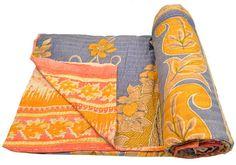 Vintage Kantha Quilt Gudri Reversible Throw Ralli Bedspread