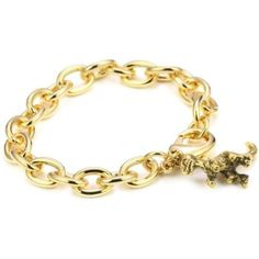 """Privileged NYC Dinosaur Charm Gold plated Cable Chain Bracelet 7"""" endless.com... LOVE IT."""