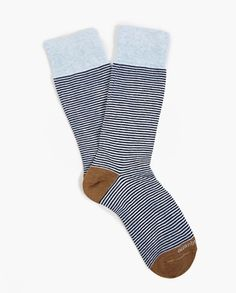 Men's Blue 1000 Stripes Sock: Patterned with contrasting coloured stripes, these socks from Etiquette Clothiers are a bold and playful design. #EttiquetteClothiers #mensfashion #cottonsocks #MensSocks #StripedSocks