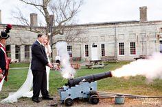 Fun Idea post Ceremony or send off? At Fort Adams Newport, RI Wedding :|:Marie + Shad Pranzi Catering  Adeline & Grace Photography
