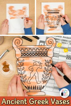 Ancient Greece Art Game Learn art history while creating an Ancient Greece vase inspired by Greek Mythology. Fill up your middle school art sub plan folder with no-prep art projects that are easy to implement. Great for grade arts integration, homescho Art Sub Plans, Art Lesson Plans, Ancient Greece Ks2, Ancient Greece For Kids, Ancient Greece Crafts, Ancient Greece Lessons, Greek Mythology Art, Greece Mythology, Greek Crafts