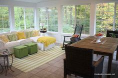 I have spent hours and hours redesigning our house to add a sunroom. Sunrooms And Decks, Sunroom Windows, 4 Season Room, Ikea Couch, Home Porch, Patio Design, Great Rooms, My Dream Home, Outdoor Furniture Sets