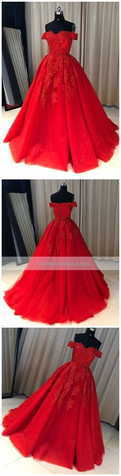 Off Shoulder Red Lace A-line Cheap Evening Prom Dresses, Sweet 16 Dresses, 17501 #promdresses